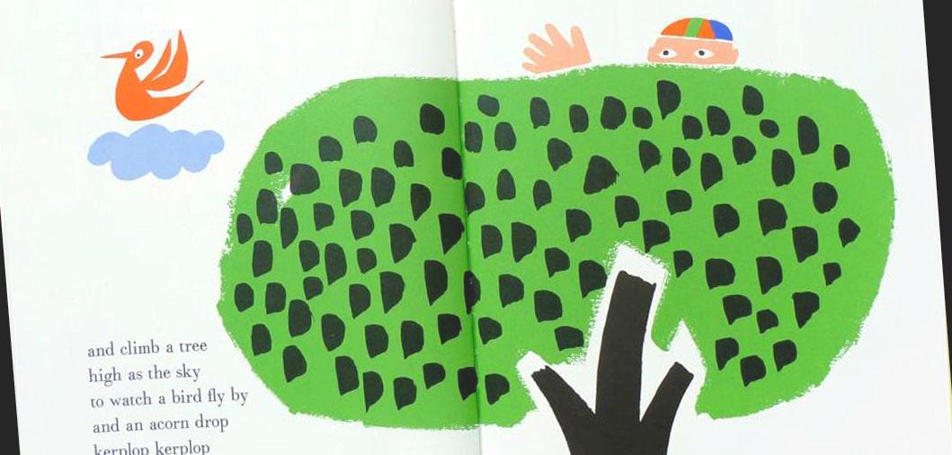 Muestra el colorido y estructura de las ilustraciones de Paul Rand en los álbumes ilustrados