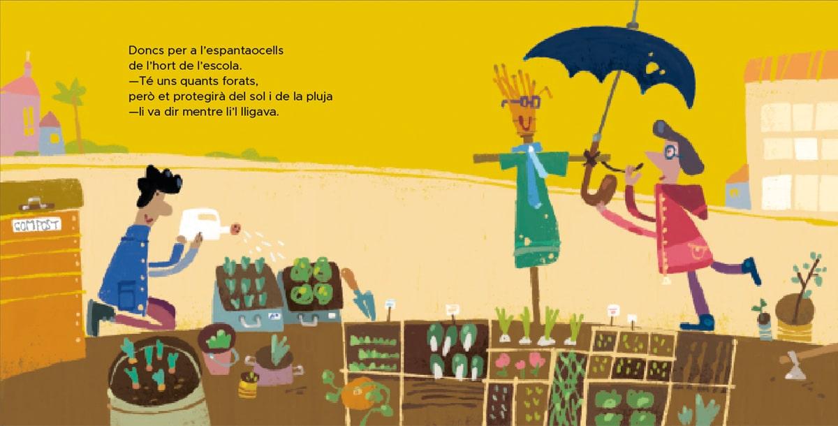 ilustración huerto escolar con compostera